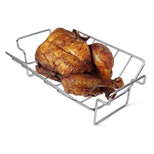 Mydracas BBQ Rib Rack for Smoking and Grilling Roast Rack 100% Stainless Steel Roast and Dual-Purpose Turkey Rack for Large Big Green Egg and Kamado Joe Etc.