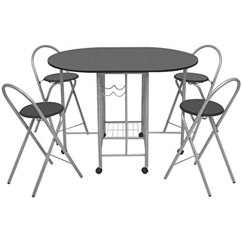 Festnight 5 Pz Set Tavolo e Sedie Pieghevoli in MDF Neri/Tavolo Cucina con sedie