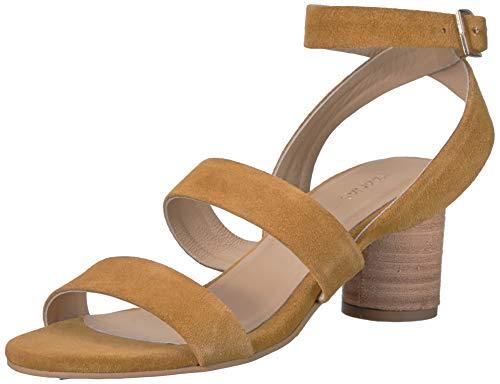 KAANAS Damen Noosa Open Toe Heeled Ankle Strap Shoe Flache Sandale, senffarben, 38 EU