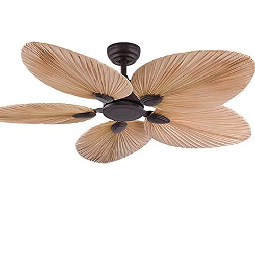 RR&LL Ventilador de techo de hoja de palma de 52 pulgadas con mando a distancia sin ventiladores de techo de luz ventilador decoración de dormitorio Silent Motor Blades