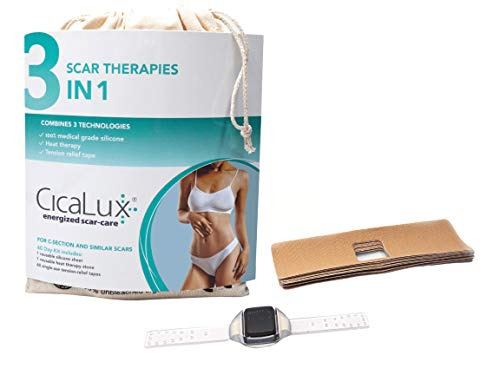 CicaLux Energized Scar Care, Triple-Action Scar Treatment Solution for Old and New Scars, C-Section, Tummy Tuck; 100% Medical Grade Silicone Sheet, Infrared Heat, 60 Day Supply