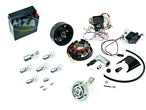 Simson Vape Zündanlage S51 Komplett Set mit wartungsfreie 12V 5Ah Batterie (incl. 7,50 EUR Batteriepfand), Hupe, Kugellampen