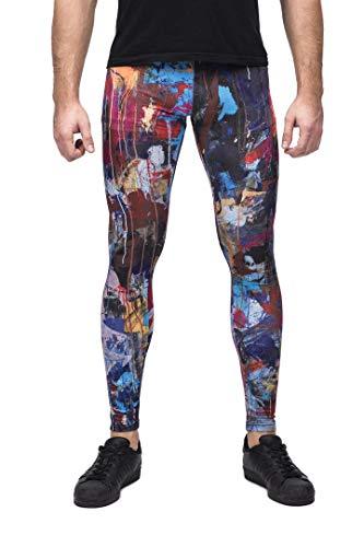 Kapow Männer-Leggings - Kompressionsleggings | Yoga Pants | Superleicht | Spandex | Farbenfrohe Drucke | Festival Meggings | Lounge-Hosen (Disarray, Medium)