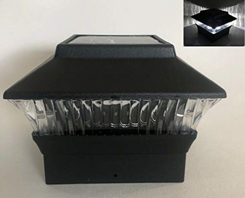 AFFORDABLE Outdoor Garden Set of 8 Solar Premium Weatherproof Plastic Black Finish Color Fence Post Cap Light with White LED for 4