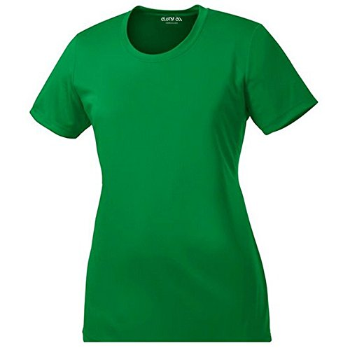 Clothe Co. Ladies Short Sleeve Moisture Wicking Athletic Shirt, Kelly Green, XL