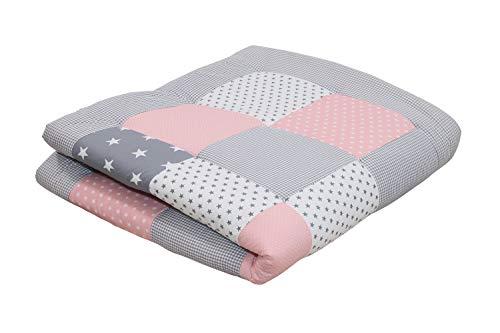 ULLENBOOM ® Baby Krabbeldecke 120x120 cm gepolstert Rosa Grau (Made in EU) - Krabbeldecke für Baby mit 100% ÖkoTex Baumwolle, ideal als Babydecke & Spieldecke