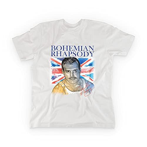 Imprenta2 - Camisetas Blancas con diseños de Queen y Freddie Mercury - Leyendas de la música - 100% Algodón Orgánico - Impresión Directa a Prenda (DTG)… (Bohemian Rhapsody, S)