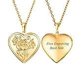 Flower Heart Locket Necklace Black Side Engravable 18K Gold Plated Photo Locket Pendant Personalized Christmas Gift for Women Girls