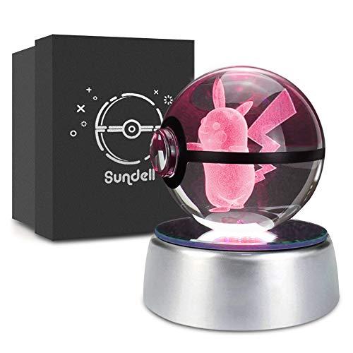 Weihnachts Geschenke für Kinder, Geschenkideen für Geburtstag, 3D Crystal Ball mit Verfärbungsbasis, Geschenk Personalisiert für Junge und Mädchen, Geschenk Boxen Set (Pikachu)