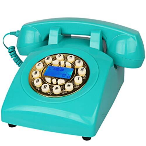 VERDELZ TeléFono Vintage Estilo Retro De Los AñOs 70 TeléFono Fijo, AutéNtico Tono Retro (Azul)