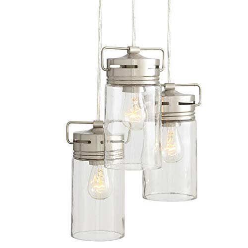 Allen + Roth Vallymede 7.7-in Brushed Nickel Multi-pendant Light with Clear Glass Shade