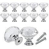 10 unids / set 30mm diseño de forma de diamante perillas de vidrio de cristal tirador de cajón de armario de cocina manijas de puerta de armario Hardware-10 piezas