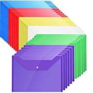 Plastic Envelopes with Snap Closure - 36Pack Poly Envelopes Folders Plastic Folders Premium Quality Document Folder A4 6 Colors
