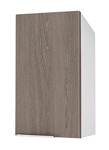 Berlioz Creations Caisson Haut de Cuisine 1 Porte 40, Panneaux de Particules, Chêne Taupe, 40 x 34 x 70 cm