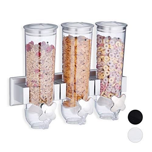 Relaxdays Dispensador de Cereales y Caramelos de Pared, Triple, Poliestireno, 32 x 40 x 14,5 cm, Plateado