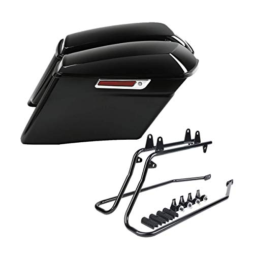 XFMT 4' CVO Stretched Extended Hard Saddlebags W/Black Conversion Bracket For Harley Heritage Softail Deluxe 1986-2013