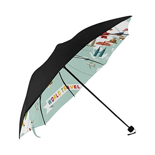 Reiseschirm gedruckt Cartoon Weltkarte Dekor Symbol Unterseite Regenschirm Winddicht Faltbarer Regenschirm Kinderwagen Sonnenschirme Mit UV Ady G.