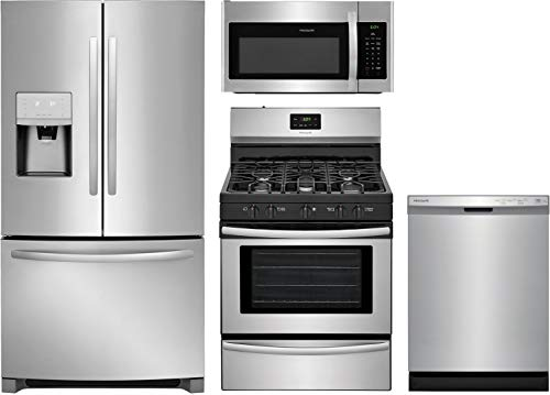 "Frigidaire 4-Piece Kitchen Appliance Package with FFHB2750TS 36"" French Door Refrigerator FFGF3052TS 30"" Freestanding Gas Range FFMV1645TS 30"" Over-the-Range Microwave and FFCD2418US 24"" Built In Full Console Dishwasher in Stainless Steel"