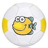 Wisdom Wolf Ballon de Football pour Enfant,Ballons Entraînement Football pour Intérieur/Extérieur Entraînement,Taille 2 (Size 2, Jaune/Blanc)