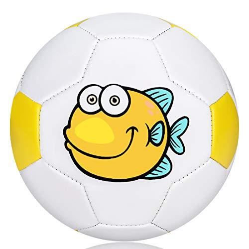 Wisdom Wolf Balón de fútbol para niños, pelota de fútbol para niños, suave al tacto, ligera, pelota de juguete para niños pequeños para entrenamiento en interiores y exteriores, tamaño 2, 5.5 pulgadas