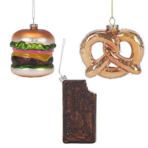 Transpac Hängeornament, Brezel, Burger und Eiscreme-Sandwiche, 10,8 cm, Glas, 3 Stück