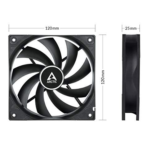 ARCTIC F12 Silent - Besonders leiser 120 mm Gehäuselüfter, Case Fan mit Standardgehäuse, nahezu lautlos, Push- oder Pull Konfiguration möglich, 800 U/min. - Schwarz