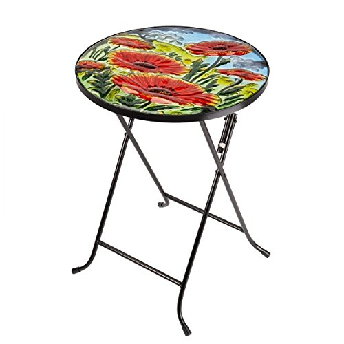 Folding Glass Garden Side Table Outdoor Patio Decking Hand-Painted Poppy Design