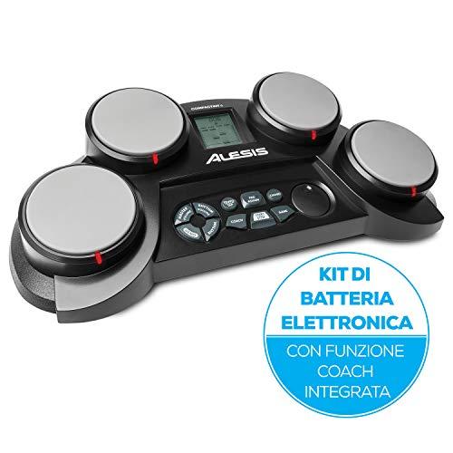 Alesis CompactKit 4 - Batteria Elettronica Portatile da Tavolo con 4 Pad Sensibili Alla Velocity, 70 Suoni di Percussioni, Funzione Coach e Game, Alimentazione a Batterie o di Rete e Bacchette