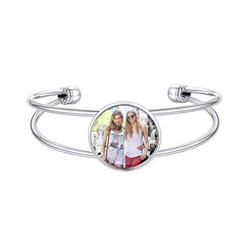 Custom4U Personalised Bracelets for Women Photo Bracelet for Women Silver
