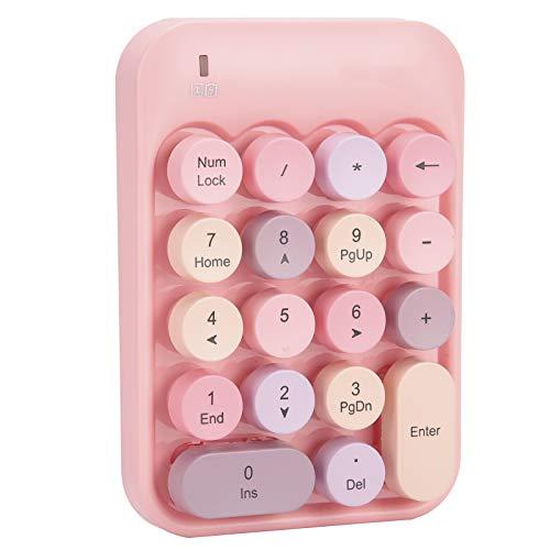 S erounder Wireless Numeric Keypad, Mini Digital Numpad 18 Keys Ergonomic Number Pad Keyboard with 2.4G USB Receiver & Chocolate Keycap for Laptop/PC/Desktop(Pink)