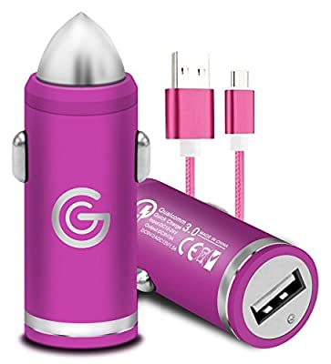 Gadget Giant Quick Charge 3.0 TYPE C/USB C Car Charger for Samsung Galaxy S9 S10 Note 9 10 A20e A30 A40 A50 A60 A70 A80 A90 [RAPID QUICK FAST CHARGING CHARGER] [QC 3.0] [+ DURABLE DATA CABLE] Pink