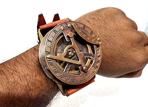 Vimal - Orologio da polso in ottone anticato e schiuma, con bussola meridiana da polso, con quadrante in stile nautico, 7,8 cm circa.