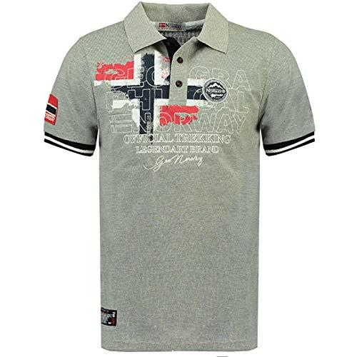 Geographical Norway Kutta - Herren Baumwolle Fit Polo-Shirt - Polo Regular Slim - Kragenform Oberen Hochwertige- Qualität Casual T-Shirt - Original Geschenk für Männer (GRAU XL)