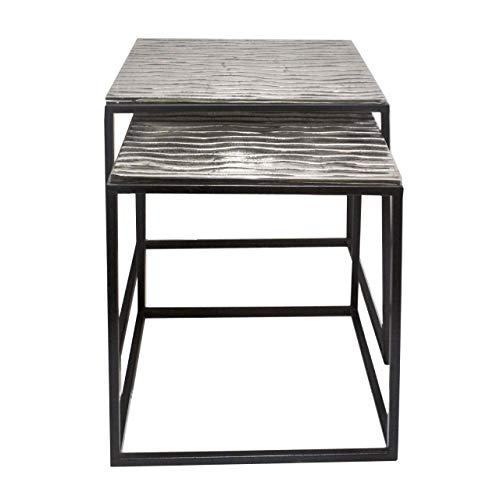 Soma - Tavolino decorativo in metallo, rotondo, o quadrato, design classico, in alluminio, colore argento o oro (L x A x L) 40 x 42 x 40 cm, Tiffany 2 pezzi, 40/35 x 42/38 x 40/35 cm, colore: Argento