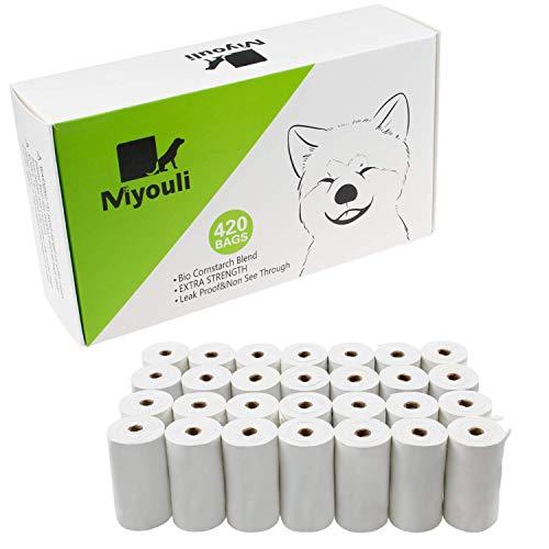 Miyouli Hundekotbeutel, Bio-Maisstärke-Mischung, umweltfreundlich, extra stark, 100{5586d479c6b1ca2018072b3c74e9d458d9cea27dfef90ad3f6cf9db299b76e50} auslaufsicher, 420 Stück für 28 Rollen