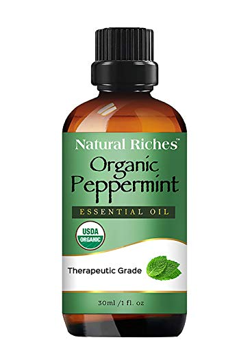 Organic Peppermint Oil, USDA Certified Pure Peppermint Essential Oil, Aromatherapy/Diffuser Therapeutic Grade Mentha Arvensis - Cooling Smell Fresh Mint Oil & Menthol – 1fl oz. Natural Riches