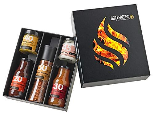 Grill Geschenk-Set mit Saucen (Grillset inkl. 4 Saucen)
