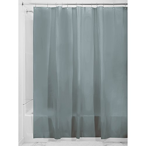 iDesign 3.0 Liner Futter für Duschvorhang, 183,0 cm x 183,0 cm großer Vorhang aus schimmelresistentem PEVA mit zwölf Ösen, rauchgrau
