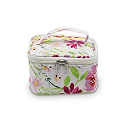 """DESIGN ✓ 5 individual zipper compartments, 2 pouches, ring holder, great for hair ties, sewing bits and pieces TRAVEL FRIENDLY ✓ Keep your jewelery tangle free MATERIAL ✓ 100% Cotton, PVC zipped compartments, satin pouches SIZE ✓ 5"""" x 5"""" x 3"""" (CLOSED..."""