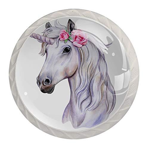 Perillas de gabinete de cocina Perillas decorativas redondas Gabinete Cajones de armario Tirador de tocador 4PCS Unicornio Caballo Floral Rosa