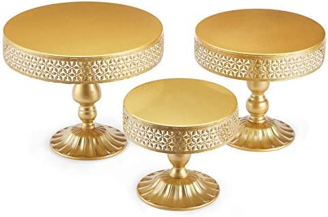 Hotity Set of 3 Cake Stands Round Modern Cake Stand Set Metal Cupcake Dessert Display Stand product image