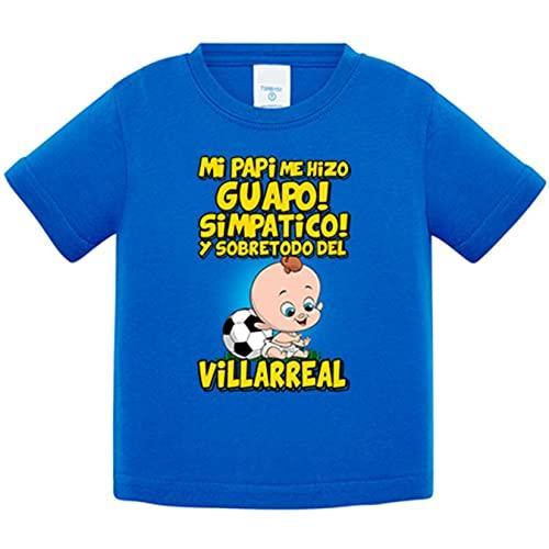 Camiseta bebé mi papi me hizo guapo simpático y sobretodo aficionado al fútbol de Villarreal - Azul Royal, 1 año