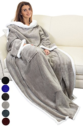 Catalonia TV-Decke Kuscheldecke ganzkörperdecke mit Ärmeln und Taschen zweiseitige Decke Microplush Fleece Sherpa Warme Decken für Erwachsene Frauen Männer Erwachsene 183cm x 140cm, Kamel