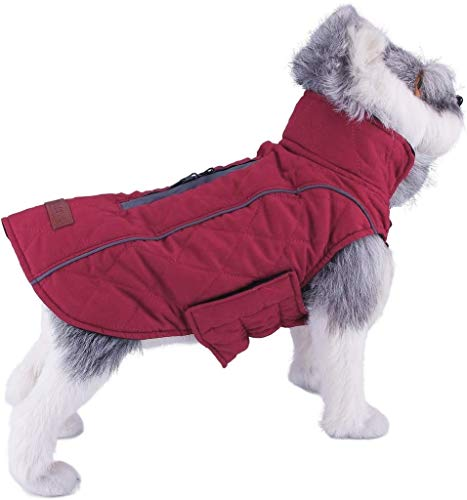 ThinkPet Warm Reversible Dog Coat - Thick Padded Comfortable Winter Dog Jacket, Reflective Safey Dog Vest L Red