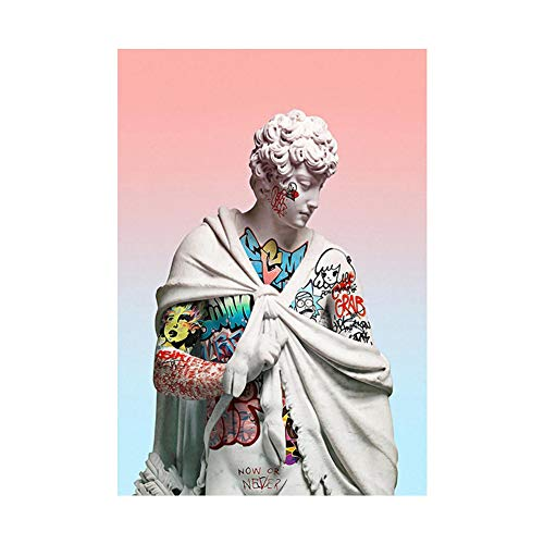 Canvas Painting,Greek Aesthetic Art Creative Graffiti Statue Home Decoration HD Print Picture for Living Room, Bedroom, Kitchen, Hallway,No Frame,60×80cm