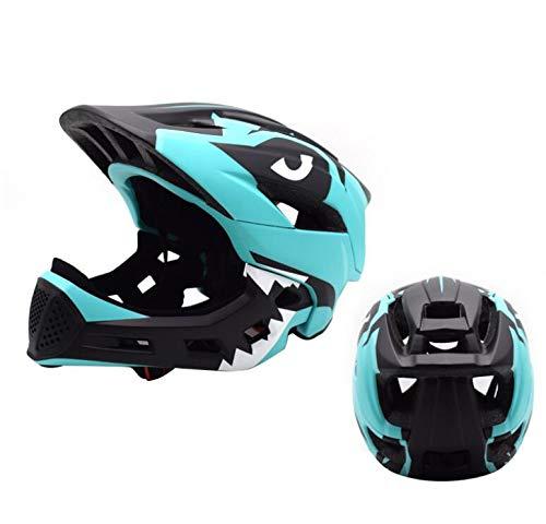 YYSDH 2020 Fahrradhelm 50-57 cm Kinder Mundschutz Fahrradhelm Kinder-Fahrradhelm Mit Doppeltem Verwendungszweck,Grün