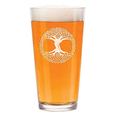 16 oz Beer Pint Glass Celtic Tree Of Life Irish