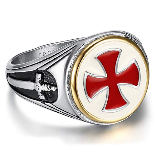 BOBIJOO JEWELRY - Anillo Anillo Anillo De Hombre De Los Templarios De La Vendimia De La Cruz Roja Espada De Acero Inoxidable De Oro De Plata