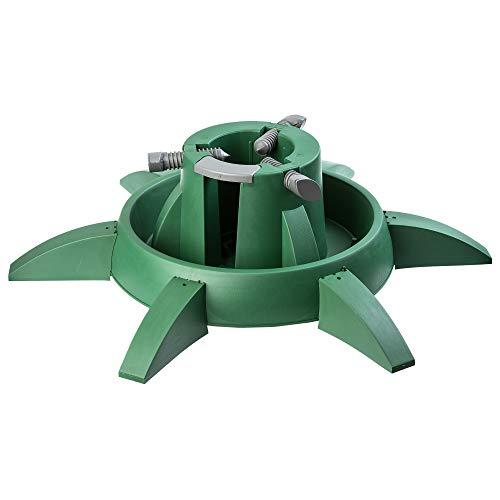 KADAX Weihnachtsbaumständer mit Wassertank, moderner Christbaumständer aus robustem Kunststoff für Bäume, Tannenbaumständer, Verschiedene Großen, stabil, grün (Baumhöhe bis 3,3m)