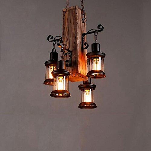 BiuTeFang Industriel Vent Internet Café Internet Café Bar Art Bois massif Lustre Vintage Restaurant Lumière Bar Lampe de table Bateau Bois Lustre Éclairage 50cm